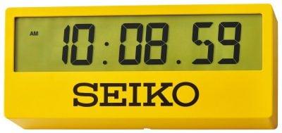 Seiko QHL073Y Große Digital Wanduhr / Tischuhr Gelb