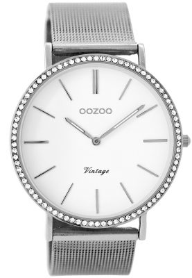 Oozoo C8890 Damen-Armbanduhr Vintage Silber/Weiß 40 mm