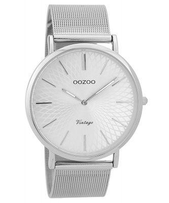 Oozoo C9340 Damen-Armbanduhr Vintage Silberfarben 40 mm