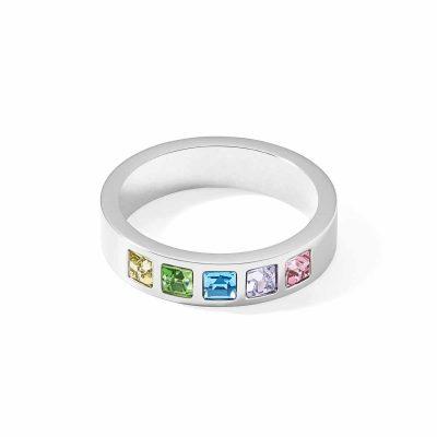 Coeur de Lion 0130/40-1580 Damenring Edelstahl Kristalle Pavé Multicolor Pastell