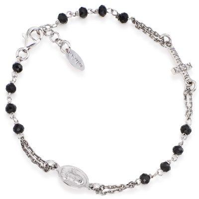 Amen BROBNZ3 Damen-Armband Kristall-Rosenkranz 925 Silber