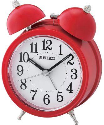 Seiko QHK035R Glocken-Wecker mit Leisegang Rot / Weiß