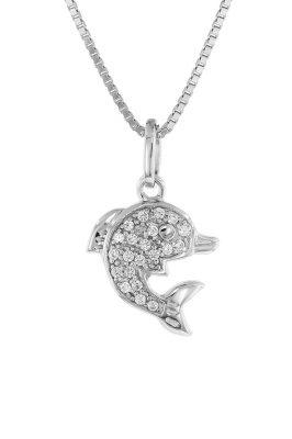 trendor 48801 Halskette für Frauen mit Delfin-Anhänger 925 Silber