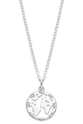 s.Oliver 2025614 Damen-Kette Weltkugel Silber