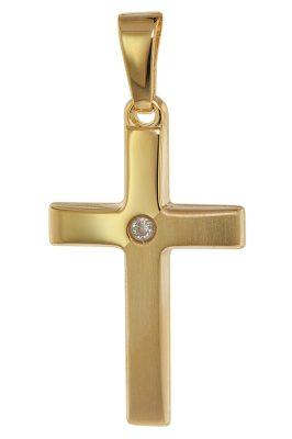 trendor 75448 Kreuz-Anhänger mit Zirkonia 19 mm Gold 585 / 14K