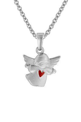 trendor 08470 Silberkette für Kinder Schwebender Engel mit rotem Herz