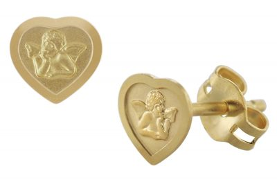 trendor 08822 Ohrringe Herz mit Amor Gold 585