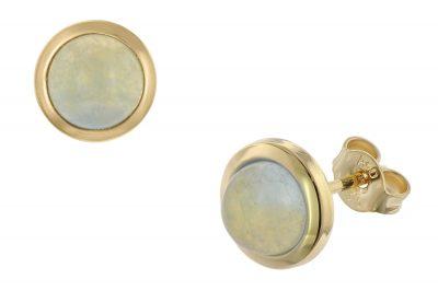 trendor 75037 Damen-Ohrringe Gold 333 mit blauem Chalcedon 8,5 mm
