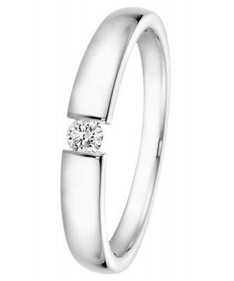 trendor 532503 Brillant-Ring 0,10 ct Weißgold 585 für Antrag oder Verlobung