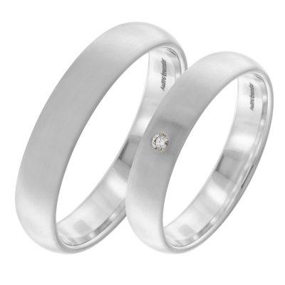 trendor 5004 Eheringe Paar Weißgold 375 Trauring-Set Diamant