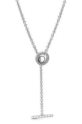 Pandora 399050C01-80 Damen-Halskette mit Pavé-Kreis und T-Verschluss Silber