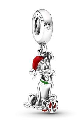 Pandora 799199C01 Charm-Anhänger Disney Pluto mit Weihnachtsgeschenk Silber