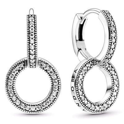 Pandora 299052C01 Funkelnde Doppel-Ohrringe Silber
