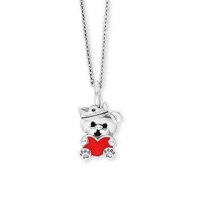 Herzengel HEN-TEDDYLOVE Silber-Halskette für Kinder Teddybär