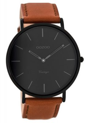 Oozoo C8126 Vintage Armbanduhr mit Lederband Cognac/Schwarz 44 mm