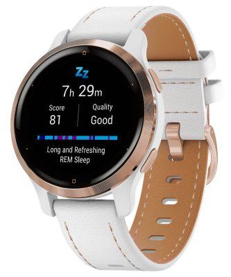 Garmin 010-02429-23 Venu 2S Fitness Smartwatch weiß/roségold + Lederband