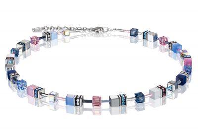 Coeur de Lion 2839/10-719 Damen-Collier Halskette GeoCUBE Blau-Rosa