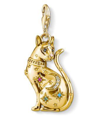 Thomas Sabo 1838-471-7 Charm-Anhänger Katze Sternenbild goldfarben