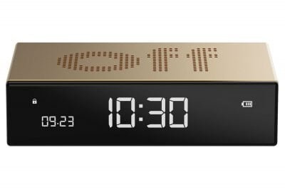 Lexon LR152D Digitalwecker Flip Premium Wecker Goldfarben